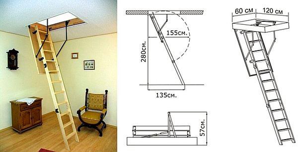 чертежи чердачной лестницы с люком