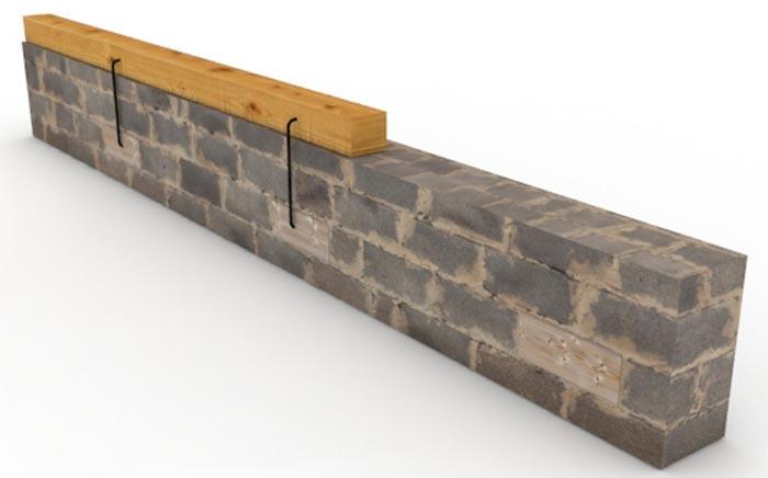 крепление мауэрлата скобами к стене