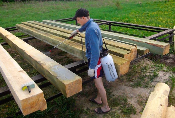 обработка бруса мауэрлата для защиты от внешних факторов