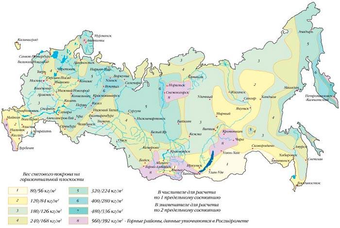 снеговая нагрузка по регионам России