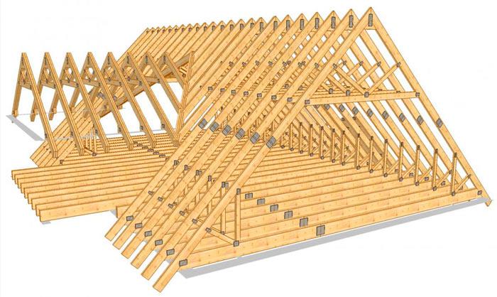 каркас двухскатной мансардной крыши