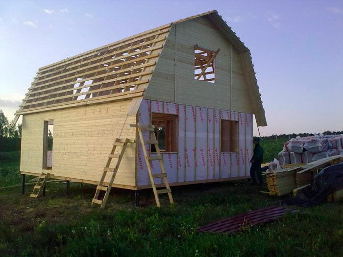 ломанная двускатная крыша с мансардой