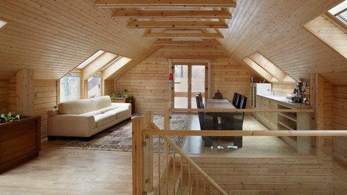 мансардный этаж двухскатной крыши