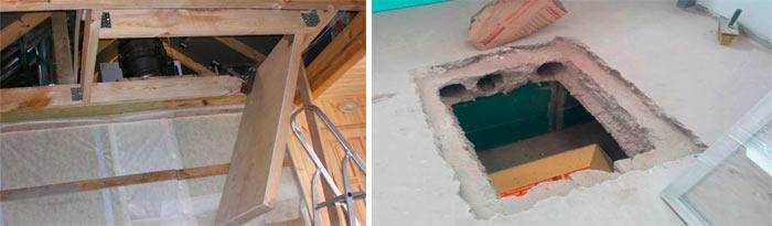 проем для люка в деревянном и бетонном перекрытии