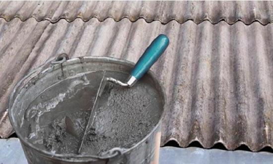 заделка трещин на шифере цементным раствором