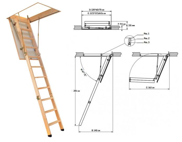 чертеж раскладной лестницы на чердак