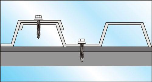 схема правильного крепления листа профнастила на односкатной крыше