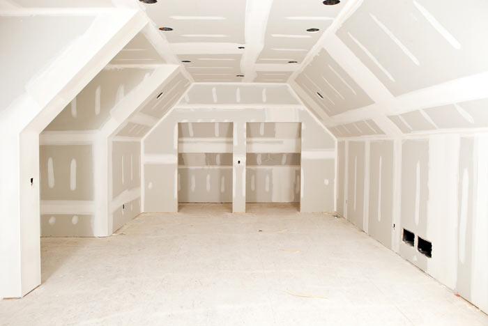 обшивка мансардного этажа гипсокартоном