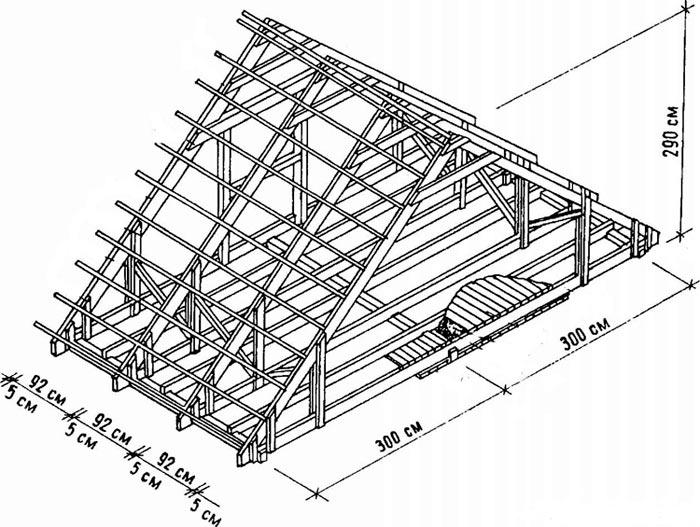 пример чертежа стропильной системы двухскатной крыши