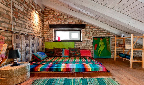 спальня под односкатной крышей
