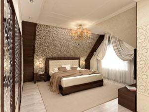 спальня на мансарде - миниатюра