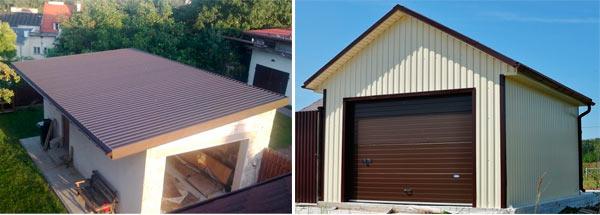 варианты крыш гаражей из профнастила