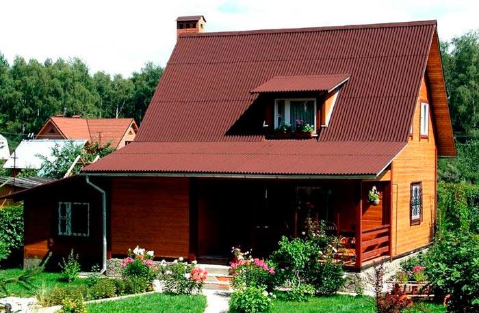 внешний вид крыши из ондулина