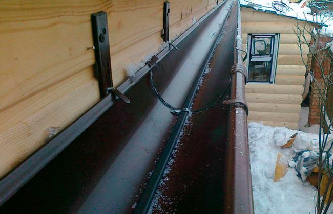 закрепленный обогревательный кабель в желобе водостока