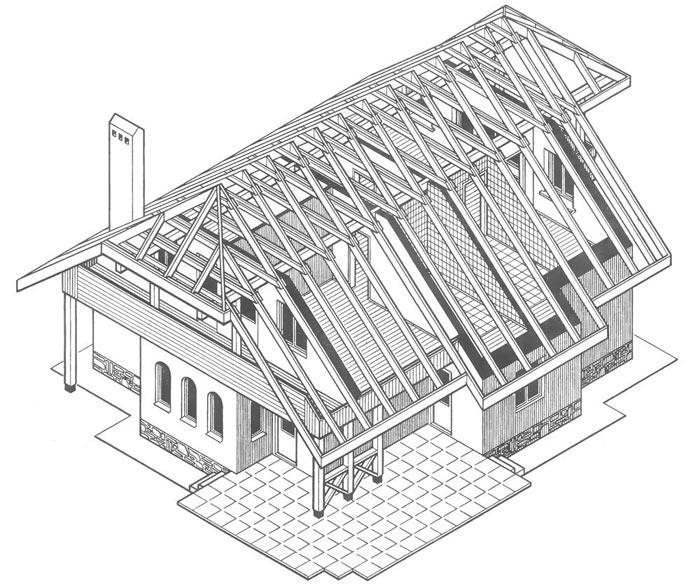 чертеж стропильной системы полувальмовой крыши