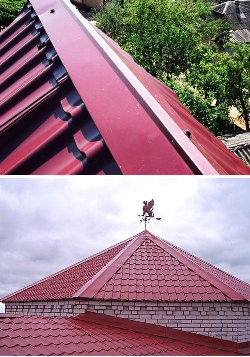 конек на разные типы крыш из металлочерепицы