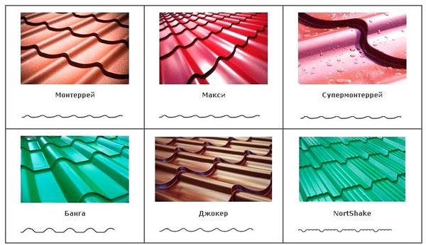 листы металлочерепицы разных конфигураций и цветов