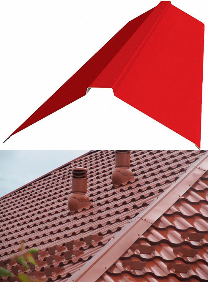 устройство плоского конька для крыши из металлочерепицы