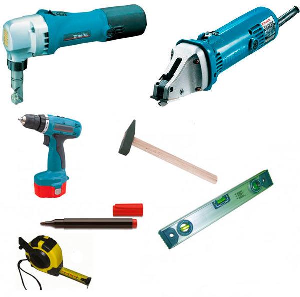 инструменты для резки и монтажа модульной металлочерепицы