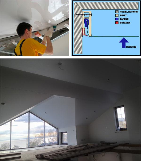 монтаж натяжного потолка на мансарде