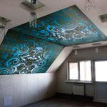 натяжной потолок на мансарде - миниатюра
