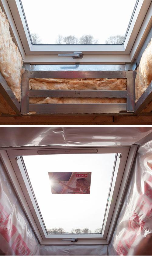 установка откоса для мансардного окна велюкс