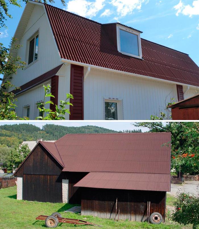 различные строения с крышей из ондулина