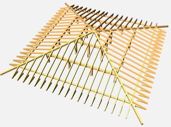 схема стропильной системы шатрового типа