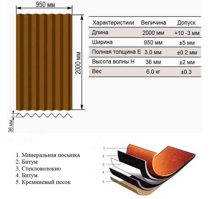 размеры и структура ондулинового листа