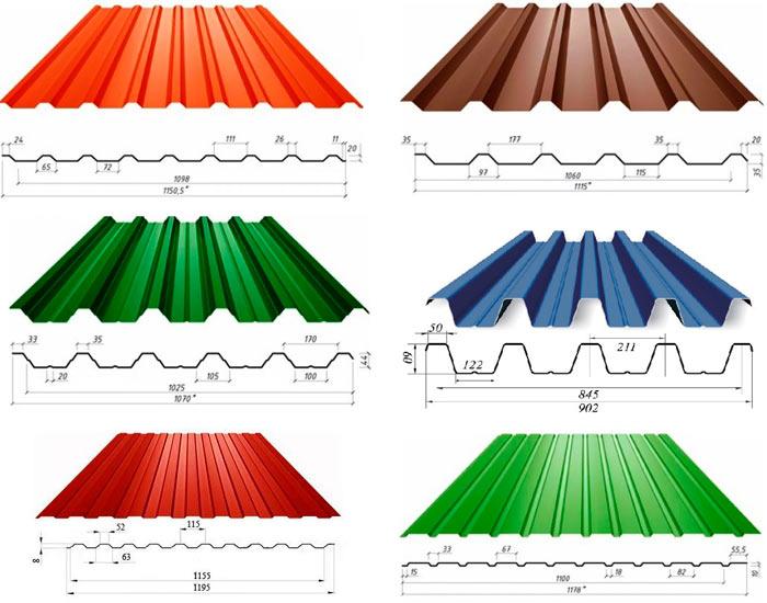 разновидности и размеры профилированных листов