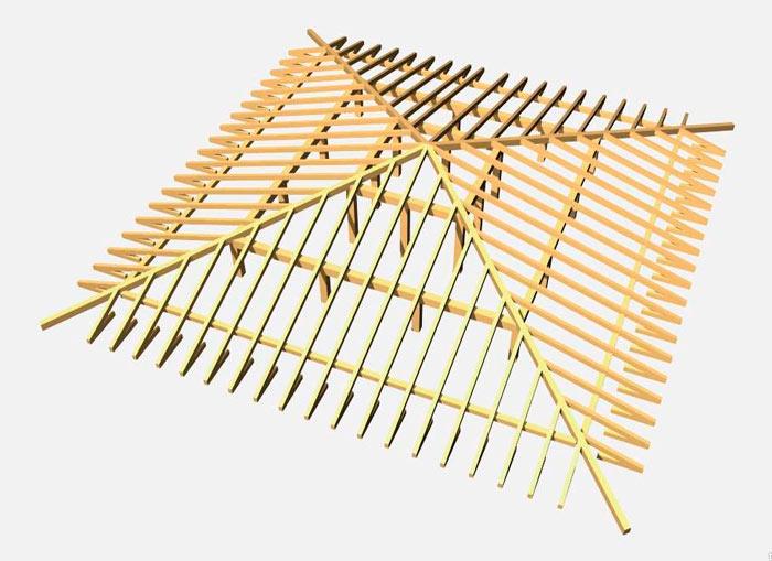 4 х скатная крыша стропильная система
