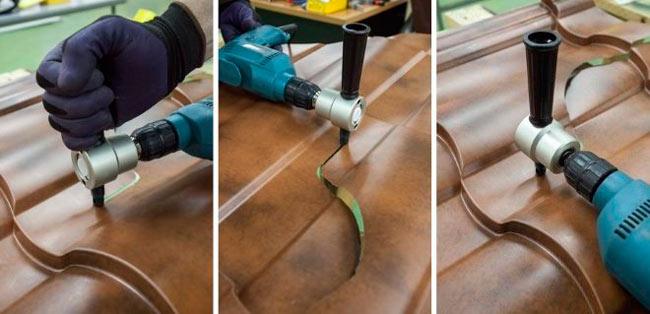 чем резать металлочерепицу насадка на дрель