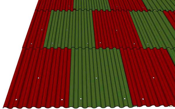схема правильной укладки ондулина на крышу