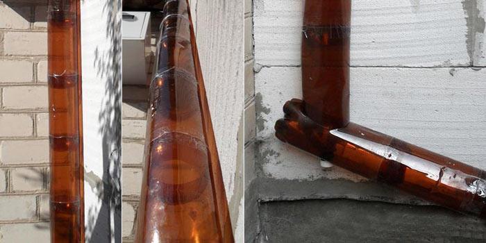 водосток из пластиковых бутылок своими руками